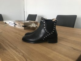 Schwarze Echtleder Zara Biker Boots