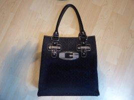schwarze GUESS Tasche Stoffoptik