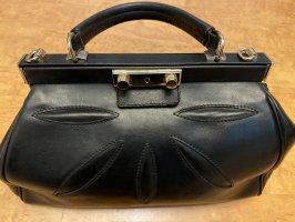 Schwarze Handtasche echtes Leder - made in Italy -