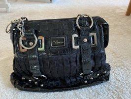Schwarze Handtasche mit Lederapplikation