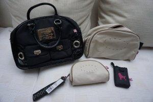 schwarze Handtasche Poodlebag mit Pink Stoff und Lack, silber + 2 Kulturtaschen Waschtaschen