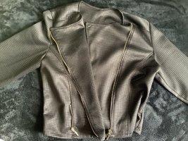Zara Blazer de cuero negro-gris antracita