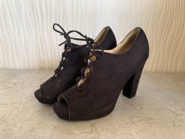 Schwarze Peeptoe High Heels In Wildlederimitat