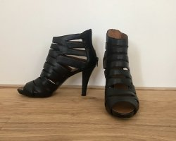BP Zone Strapped High-Heeled Sandals black-cognac-coloured leather