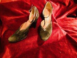 Schwarze Salamander Leder-Riemenpumps Vintage 70er