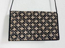 Schwarze Samttasche / Umhängetasche mit Metallgarnstickerei, goldfarben