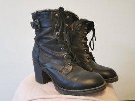 Futrzane buty czarny-ciemnoszary