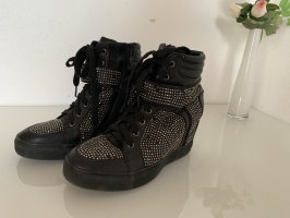 Schwarze Strass Sneaker Stiefelette mit Keilabsatz
