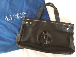 Armani Jeans Bolso barrel negro Cuero