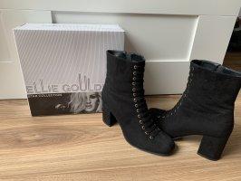 Schwarze Velvet Heel-boots mit goldene Akzente