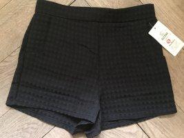 Schwarze Waffelmuster Hotpants, Gr. S