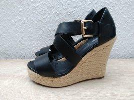 Schwarze wedges Schuhe mit Keilabsatz