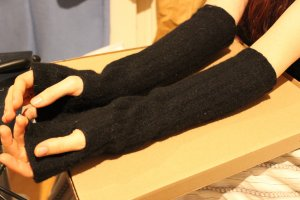 Fingerless Gloves black wool