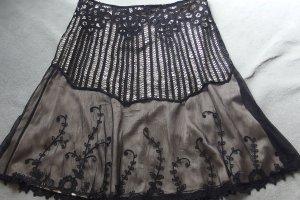 St. emile Koronkowa spódnica czarny-złoto Tkanina z mieszanych włókien