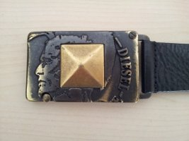Diesel Leather Belt black-gold-colored