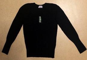 schwarzer, dünner Pullover mit Strasssteinchen, langärmlig Gr. S, 34/36