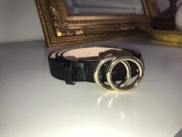 Vintage Cinturón de cuero de imitación negro-color oro