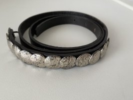 unbekannte Studded Belt black-silver-colored leather