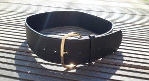 SheIn Cinturón de cadera negro-color oro