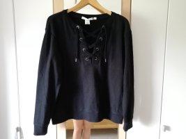 Schwarzer Pullover mit Schnürung Gr. 38