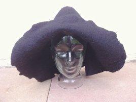 Chapeau en feutre noir laine mérinos