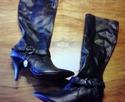 s. Oliver (QS designed) Botas de tacón alto negro tejido mezclado
