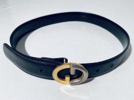 Schwarzer Vintage Gucci Ledergürtel mit Logo-Schnalle Gr.75