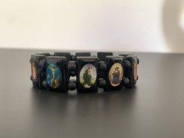 Schwarzes Armband aus Holz mit kleinen Bildern Vintage elastisch