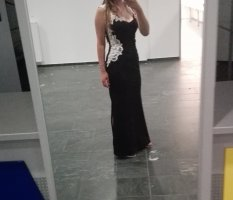 Lipsy Vestido de baile blanco-negro