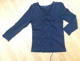 Schwarzes Falke Shirt mit 3/4-Arm und Häkelborte