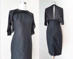 Schwarzes FCUK Kleid mit Seidencape und Perlenstickerei im Art Deko Stil, M