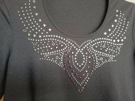 schwarzes Halbarmshirt mit Metallplättchen-Motiv von Gerry Weber