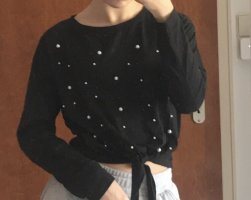 SheIn Fleece Jumper black-white