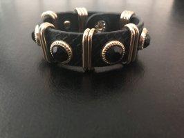 H&M Brazalete de cuero negro-color oro Cuero