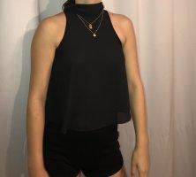 Zara Top con colletto arrotolato nero