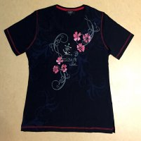 schwarzes T-Shirt mit Blumenmotiv, Gr. M
