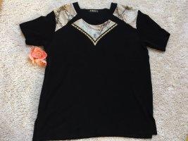 Schwarzes T-Shirt mit Leopardenmuster und Strasssteinen