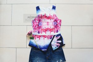 Valleygirl Peplum Top multicolored