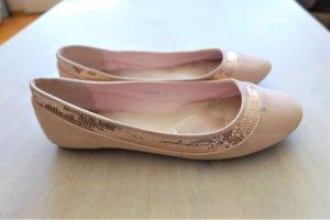 SDS Ballerinas flache Schuhe rosa rose Pailletten Gr. 38 top