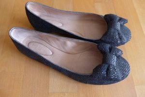 See by Chloé Ballerinas Flats Schuhe Schleife Paillette Leder schwarz Gr 38,5