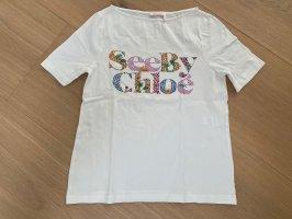 See By Chloé T-Shirt Weiß mit Aufschrift, Größe S
