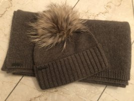Seeberger Fur Hat grey brown-camel cashmere