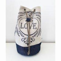 Seesack rucksack jeans Leinen Engle LOVE blau Natur
