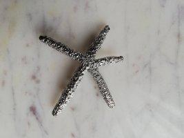 Seestern Haarspange Metall silber perforiert