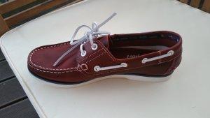 Newport Zapatos de marinero gris antracita-burdeos Cuero