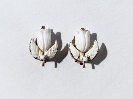 Sehr alte Vintage Ohrclips in Blütenform - Weiß mit Gold