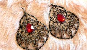 Statement Earrings black-red