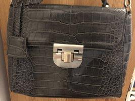 Sehr schöne Business Henkel Handtasche von Zara Woman - grau - Kroko-Imitat - NUR 1 x BENUTZT