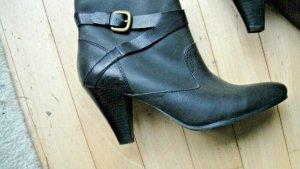 sehr schöne Esprit - Stiefeletten, schwarzes Leder mit Schnallenband Gr. 41