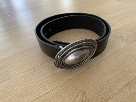 Schuchard & Friese Leather Belt black-silver-colored